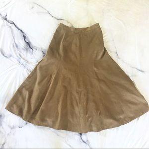 Faux Suede Tan A-Line Skirt